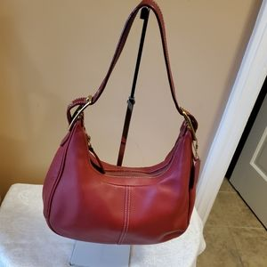 Coach Zoe Legacy Red Hobo leather bag